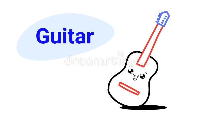 Ślicznej klasycznej drewnianej gitary kreskówki komiczny charakter z uśmiechnięta szczęśliwa ręka rysujący twarzy emoji kawaii st royalty ilustracja