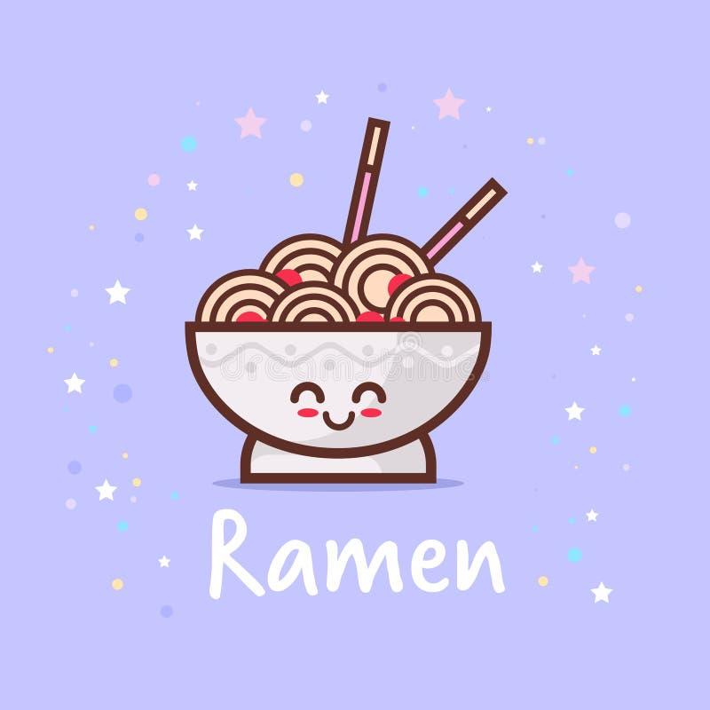 Ślicznej klusek ramen pucharu kreskówki komiczny charakter z uśmiechniętego twarzy emoji kawaii szczęśliwego stylu azjatykcim tra ilustracja wektor