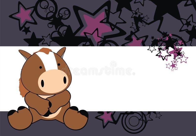 Ślicznej końskiej dziecko kreskówki siedzący tło ilustracji