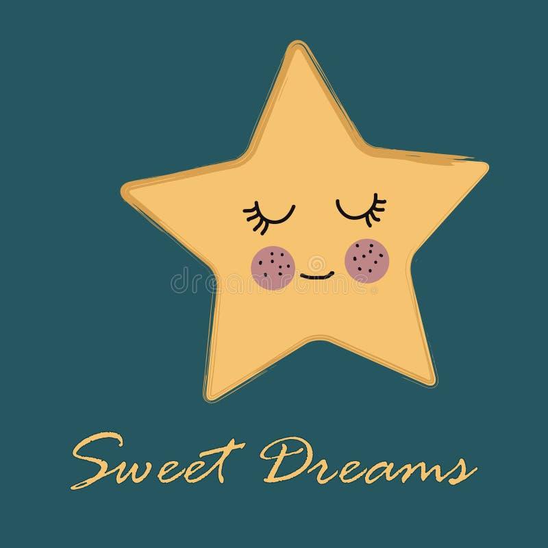 Ślicznej kolor żółty gwiazdy kreskówki doodle wektorowa ilustracja na zielonym błękicie z tekstów słodkimi sen ilustracja wektor