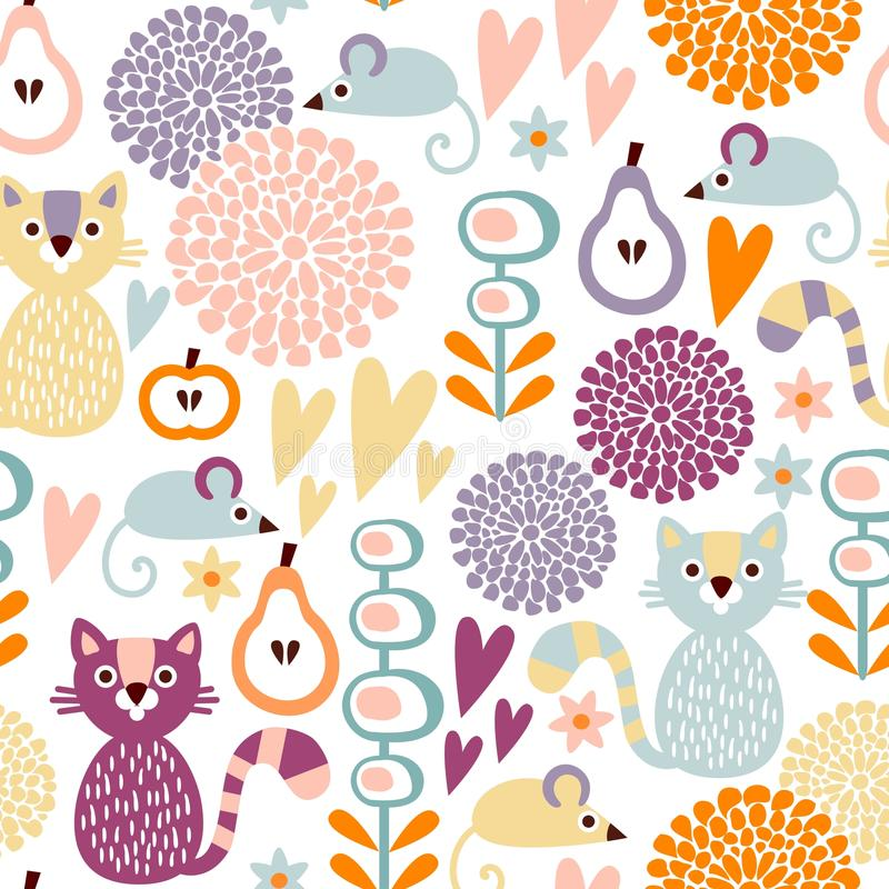 Ślicznej kolorowej kreskówki bezszwowy kwiecisty wzór z zwierzętami kot i mysz