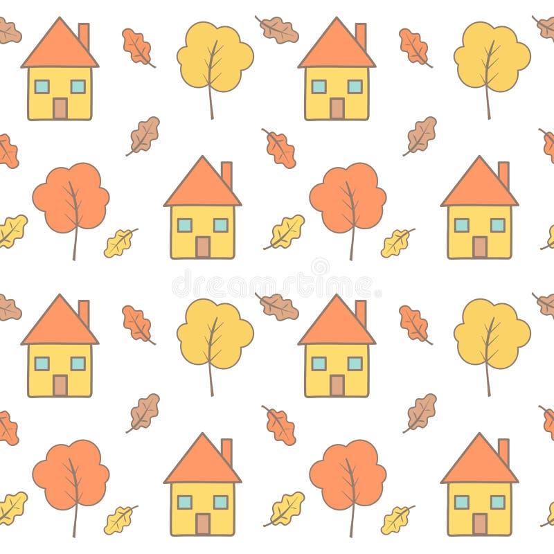 Ślicznej kreskówka spadku jesieni wektoru wzoru bezszwowy tło ilustracji