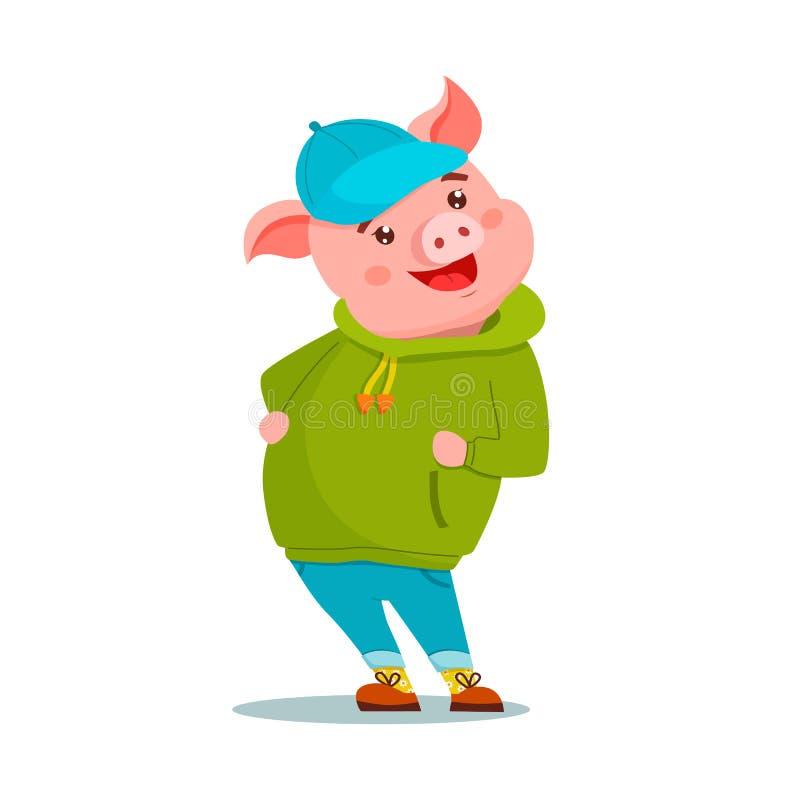 Ślicznej kreskówki świni roześmiany być ubranym hoody, nakrętka i cajgi, Wektorowa p?aska ilustracja royalty ilustracja