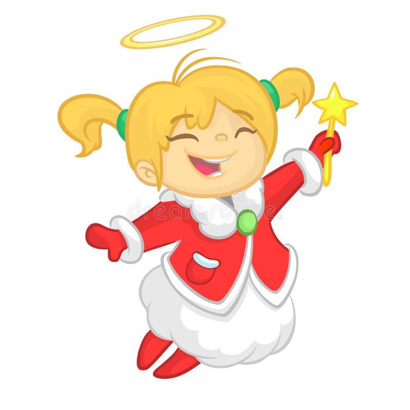 Ślicznej kreskówki anioła charakteru Bożenarodzeniowy latanie i mienie gramy główna rolę Wektorowa ilustracja szczęśliwej zimy bl royalty ilustracja