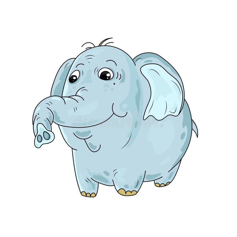 Ślicznej kreskówki błękitny słoń na białym tle ilustracja wektor