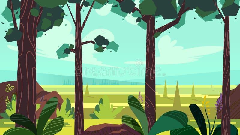 Ślicznej kreskówki bezszwowy krajobraz z oddzielonymi warstwami, letni dzień ilustracja, napady na urządzeniach przenośnych i moż ilustracja wektor