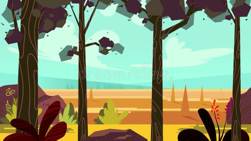 Ślicznej kreskówki bezszwowy krajobraz z oddzielonymi warstwami, letni dzień ilustracja, napady na urządzeniach przenośnych i moż royalty ilustracja