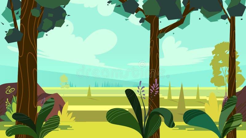 Ślicznej kreskówki bezszwowy krajobraz z oddzielonymi warstwami, letni dzień ilustracja, napady na urządzeniach przenośnych i moż ilustracji