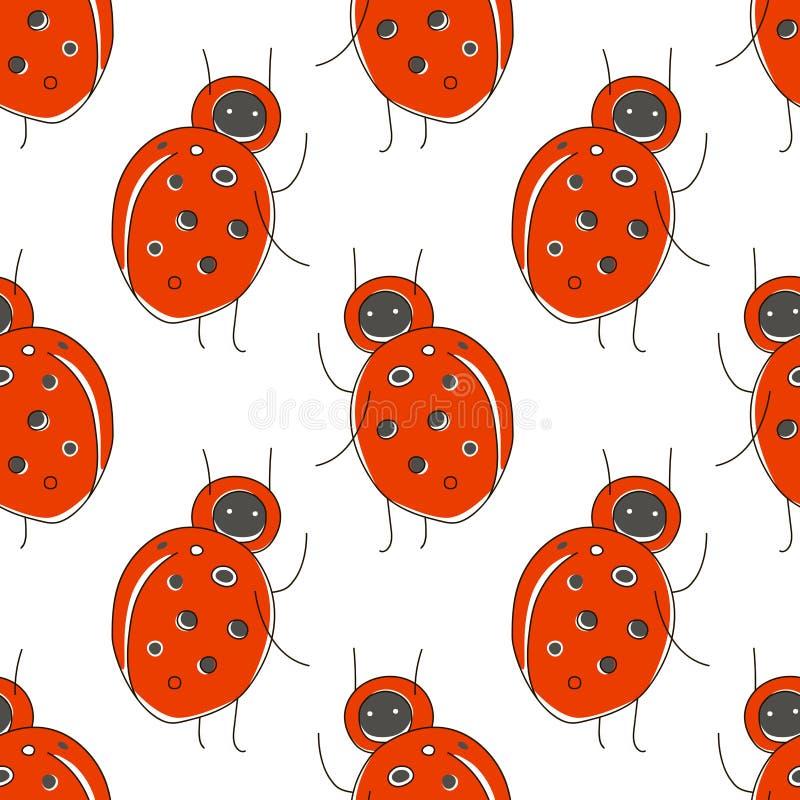 Ślicznej kreskówki bezszwowy wzór z śmieszną czerwoną pluskwą: ladybird royalty ilustracja