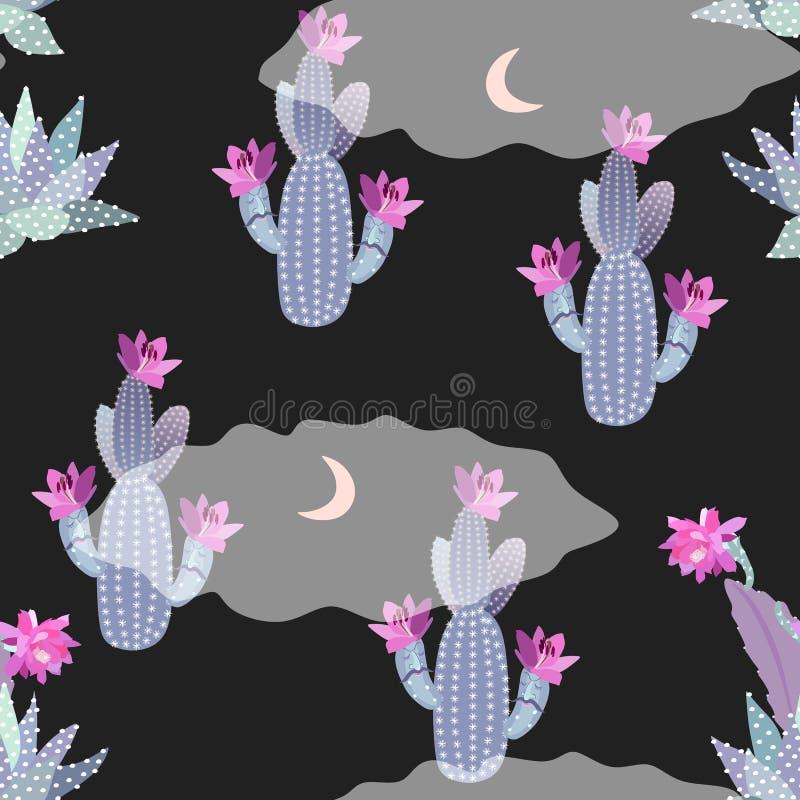 ?licznej kresk?wki bezszwowy wz?r z kwitn?cymi kaktusami, sukulenty, ksi??yc i chmury, ?mieszny noc krajobraz judean desert druk ilustracji
