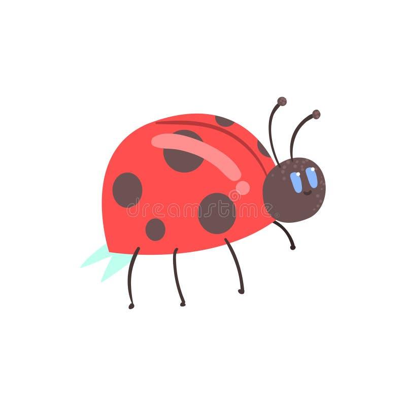 Ślicznej kreskówki biedronki charakteru wektoru czerwona ilustracja ilustracja wektor