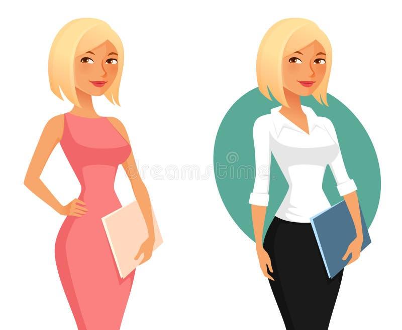 Ślicznej kreskówki biurowa dziewczyna lub sekretarka royalty ilustracja