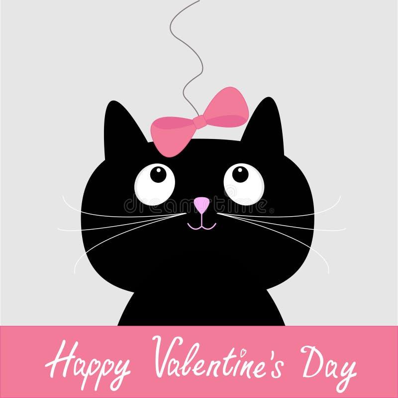 Ślicznej kreskówki czarny kot z menchia łękiem. Szczęśliwa walentynka dnia karta. royalty ilustracja