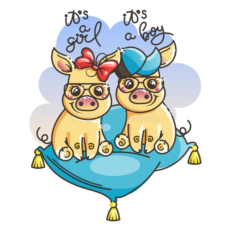 Ślicznej kreskówki dziecka złote świnie w chłodno okulary przeciwsłoneczni royalty ilustracja