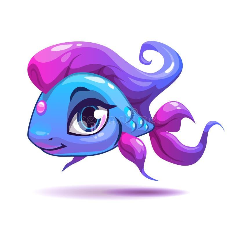 Ślicznej kreskówki dziewczyny błękitna ryba royalty ilustracja