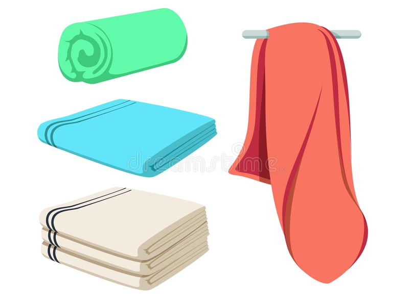 Ślicznej kreskówki fałdowi wektorowi ręczniki ustawiający Barwiony miękki plażowego ręcznika mockup Jasny wiper ilustracji