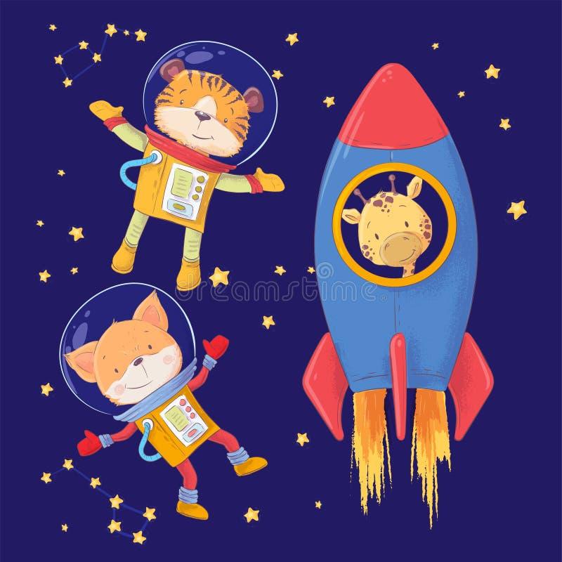 Ślicznej kreskówki ilustracji zwierząt ustaleni astronauci lisa i żyrafy tygrysi styl wręczają rysunek ilustracja wektor