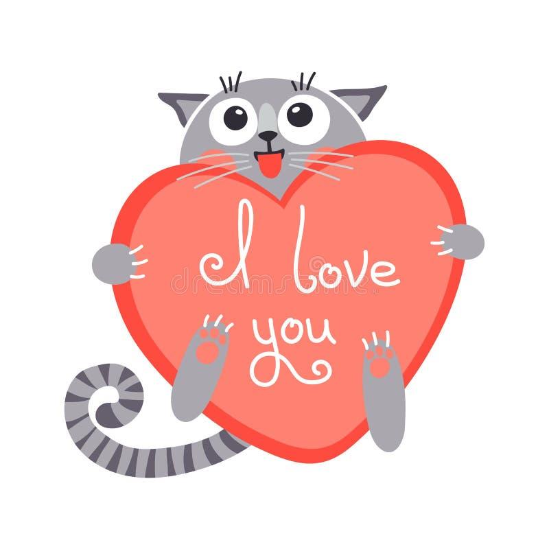 Ślicznej kreskówki imbirowy kot z sercem i deklaracją royalty ilustracja