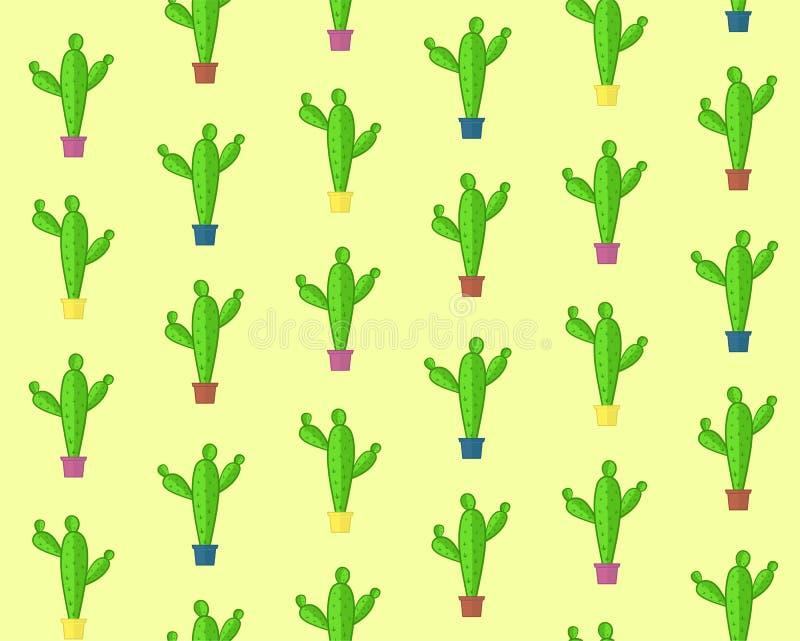 Ślicznej kreskówki kaktusa bezszwowy wzór royalty ilustracja