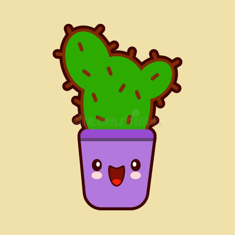 Ślicznej kreskówki kaktusowa ikona z śmieszną twarzą w garnka kawaii rośliny charakterze ilustracji