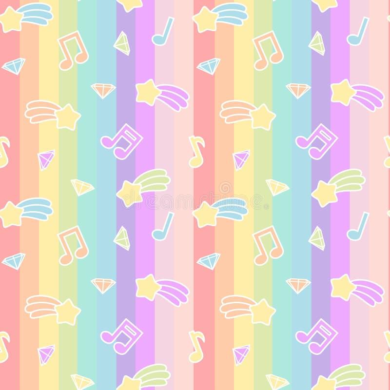 Ślicznej kreskówki kolorowej mieszanki tła bezszwowa deseniowa ilustracja z gwiazdową kometą, muzyk notatkami i diamentem na tęcz ilustracja wektor