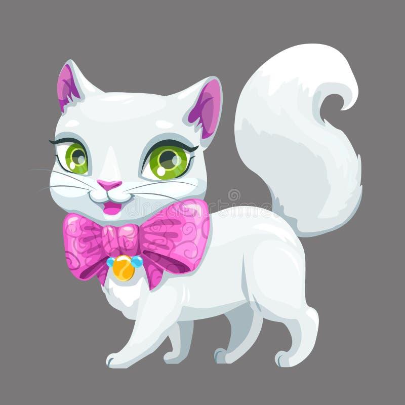Ślicznej kreskówki kota puszysta biała ikona royalty ilustracja