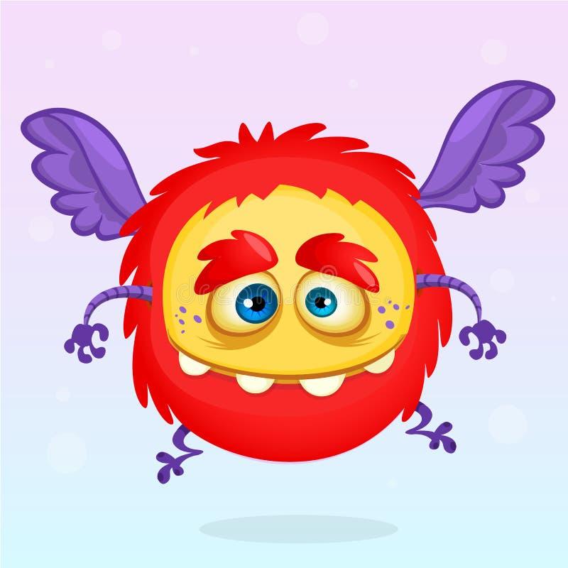 Ślicznej kreskówki latający potwór Halloweenowy wektorowy puszysty czerwony potwór ilustracja wektor