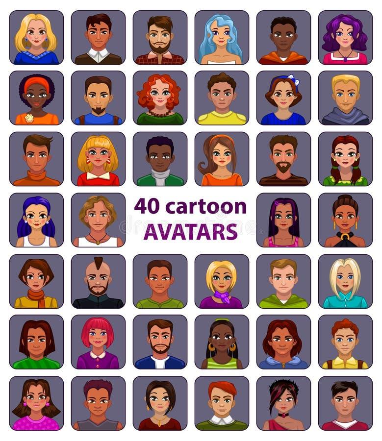 Ślicznej kreskówki ludzcy avatars ustawiający royalty ilustracja