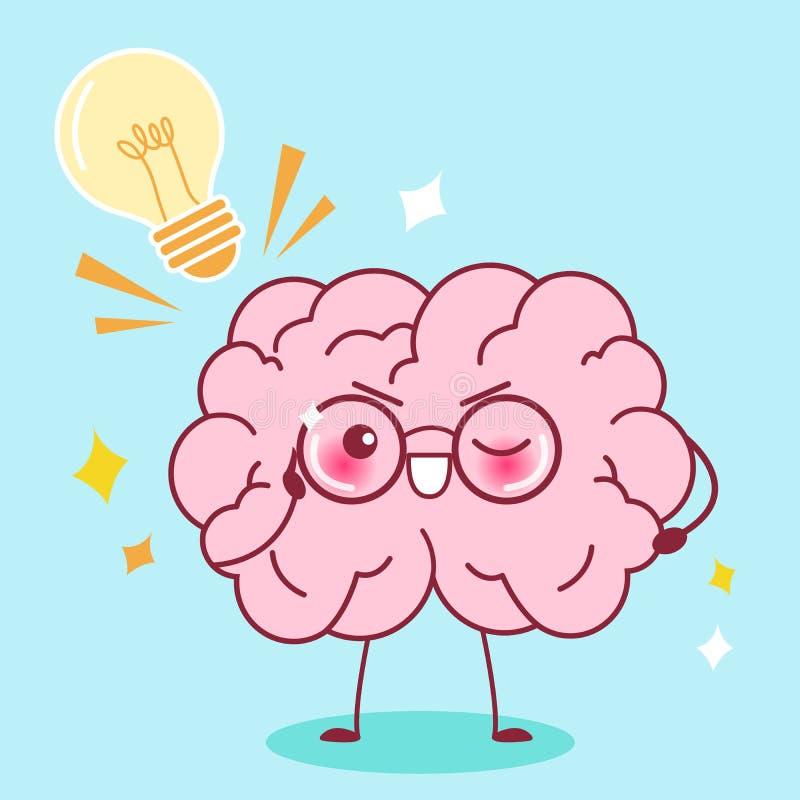Ślicznej kreskówki mądrze mózg royalty ilustracja
