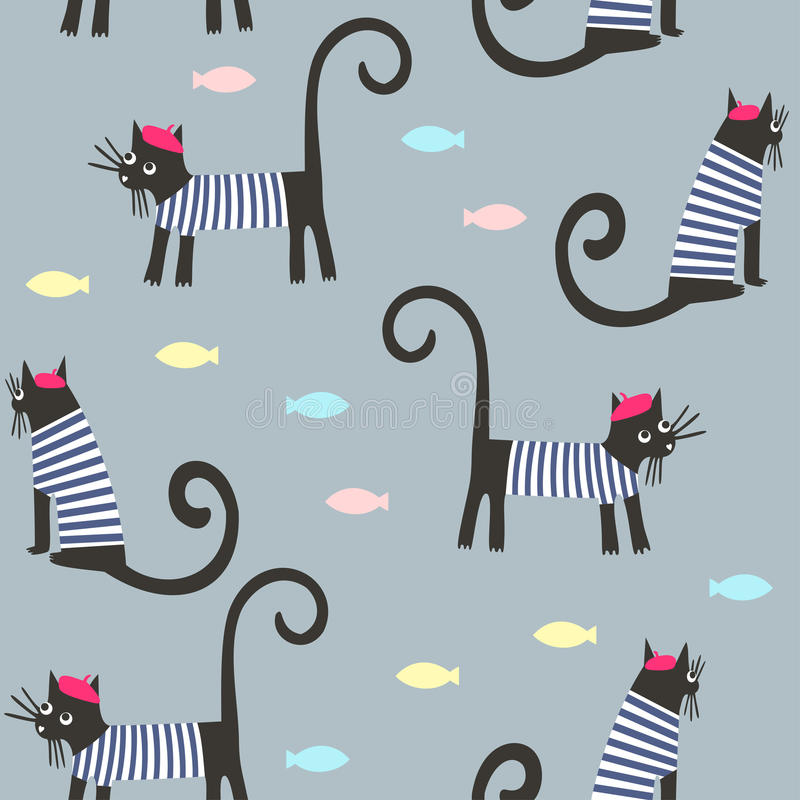 Ślicznej kreskówki parisian koty i rybi wektorowy tło ilustracji