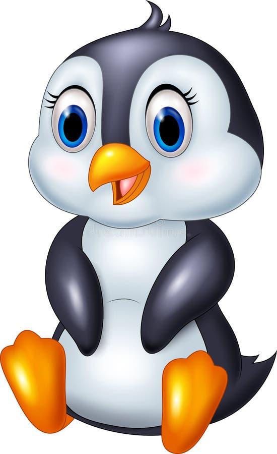 Ślicznej kreskówki pingwinu zwierzęcy obsiadanie odizolowywający na białym tle ilustracji