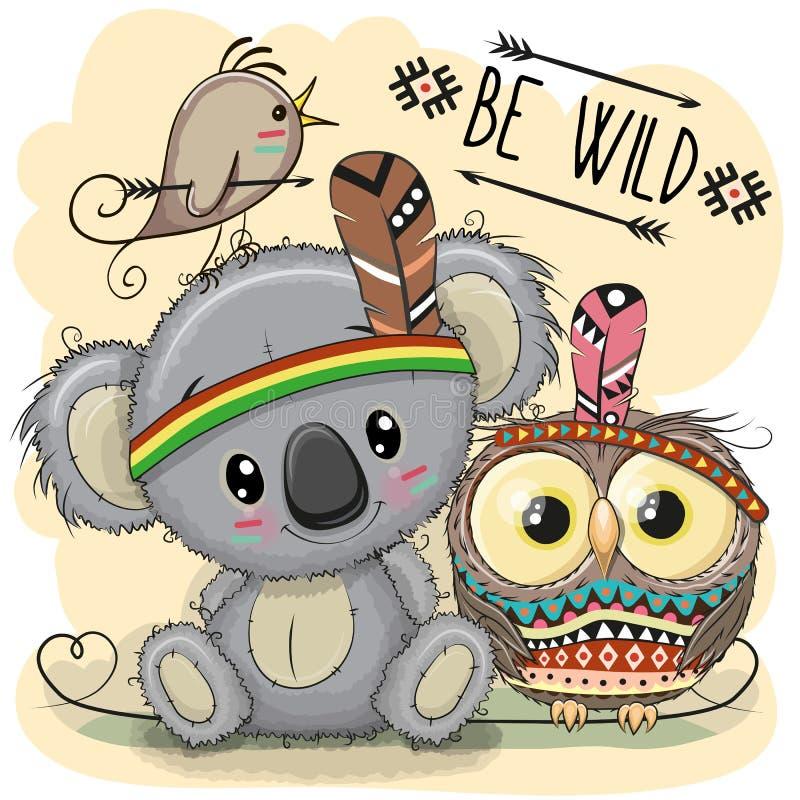 Ślicznej kreskówki plemienna koala i sowa ilustracja wektor