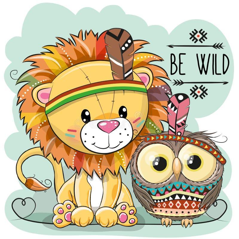 Ślicznej kreskówki plemienny lew i sowa royalty ilustracja