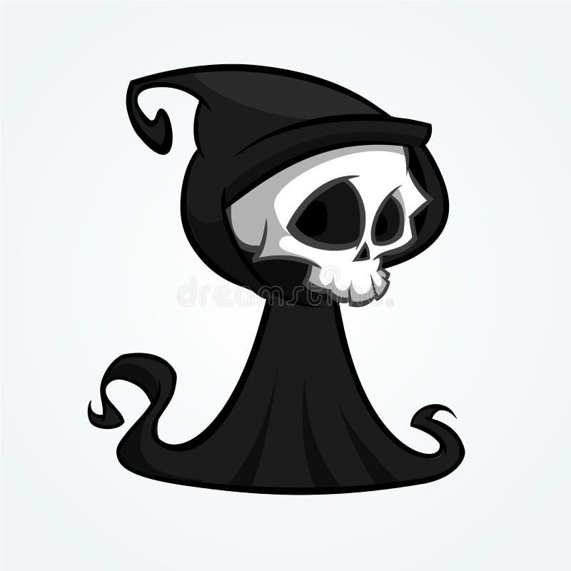 Ślicznej kreskówki ponura żniwiarka z kosą odizolowywającą na bielu Śliczna Halloweenowa zredukowana śmiertelna charakter ikona z ilustracja wektor