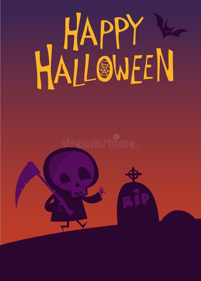 Ślicznej kreskówki ponura żniwiarka z kosa plakatem dla Halloween przyjęcia royalty ilustracja