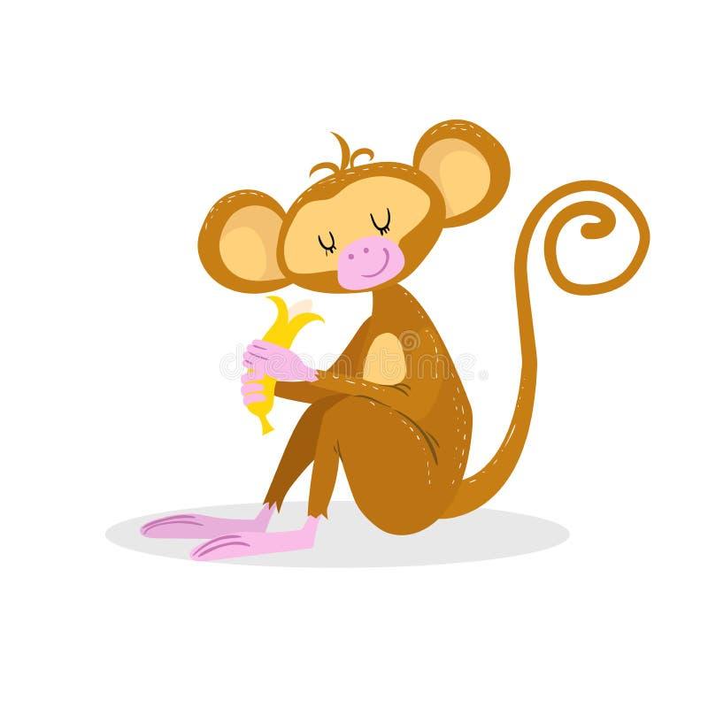 Ślicznej kreskówki projekta modna małpa trochę cieszy się banana ilustracji
