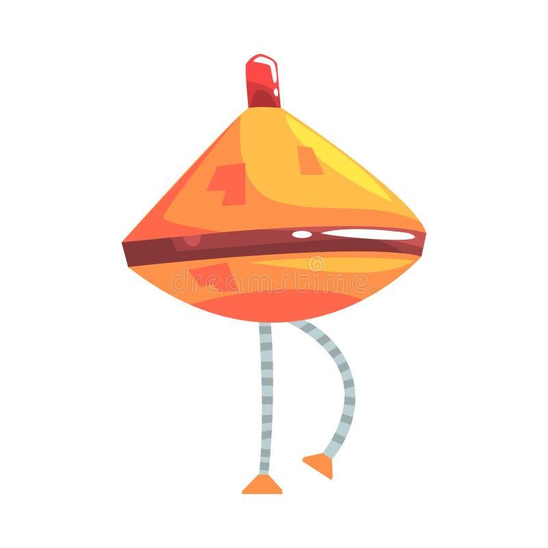 Ślicznej kreskówki robota pomarańczowy rożek z noga charakteru wektoru ilustracją ilustracji