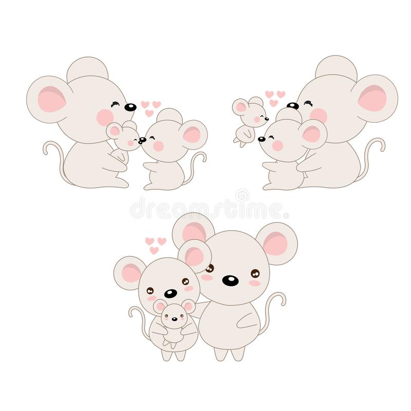 Ślicznej kreskówki rodzinna mysz i dziecko ilustracji
