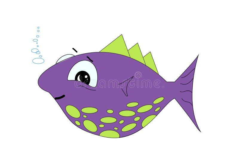 Ślicznej kreskówki ryba wektorowa ilustracja na białym tle royalty ilustracja