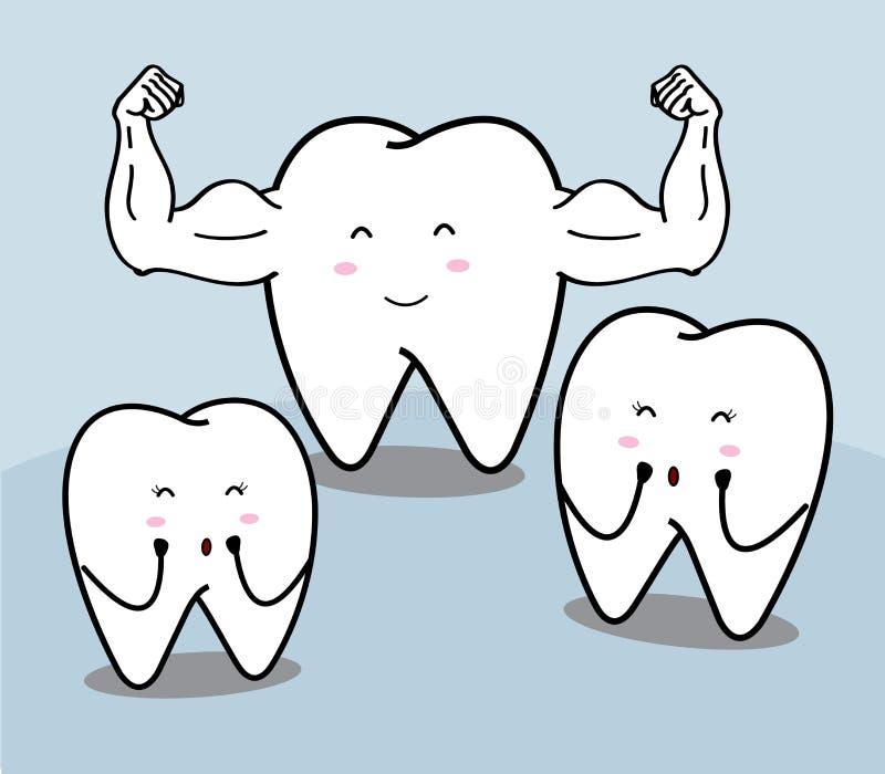 Ślicznej kreskówki silny ząb ilustracji