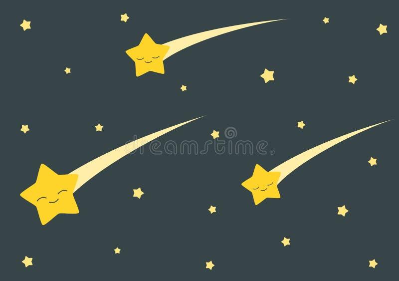 Ślicznej kreskówki spada gwiazdy w ciemnej nocy tła ilustraci ilustracji