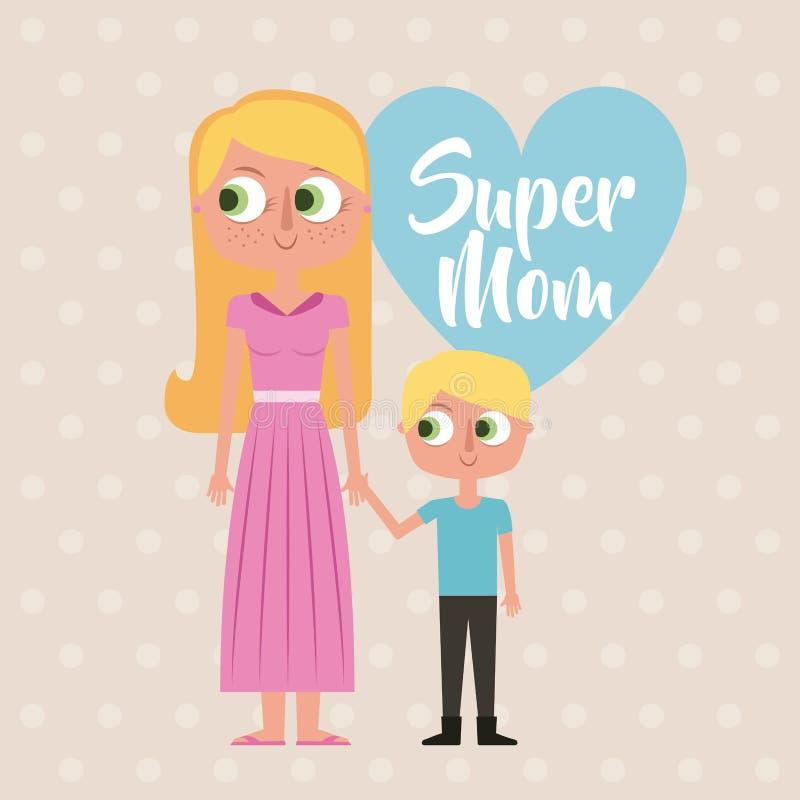 Ślicznej kreskówki szczęśliwa kobieta i małej dziewczynki super mama gręplujemy serce royalty ilustracja
