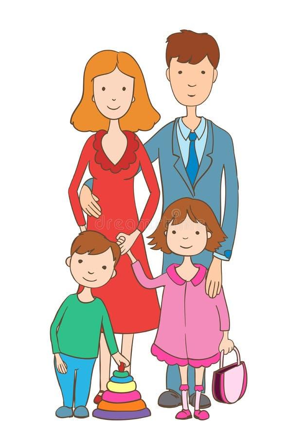 Ślicznej kreskówki szczęśliwa rodzina na bielu ilustracji
