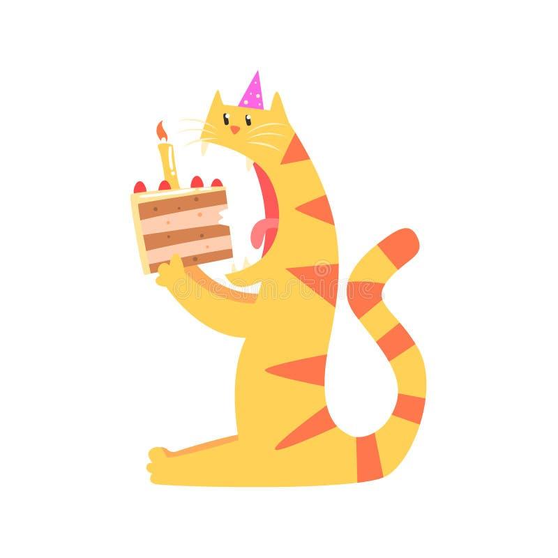 Ślicznej kreskówki tygrysi zjadliwy kawałek tort Wszystkiego Najlepszego Z Okazji Urodzin kolorowa wektorowa ilustracja ilustracja wektor