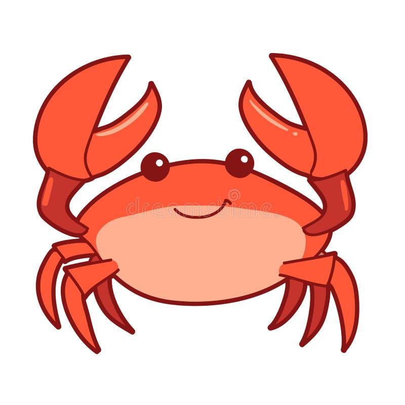 Ślicznej kreskówki uśmiechnięty krab ilustracji