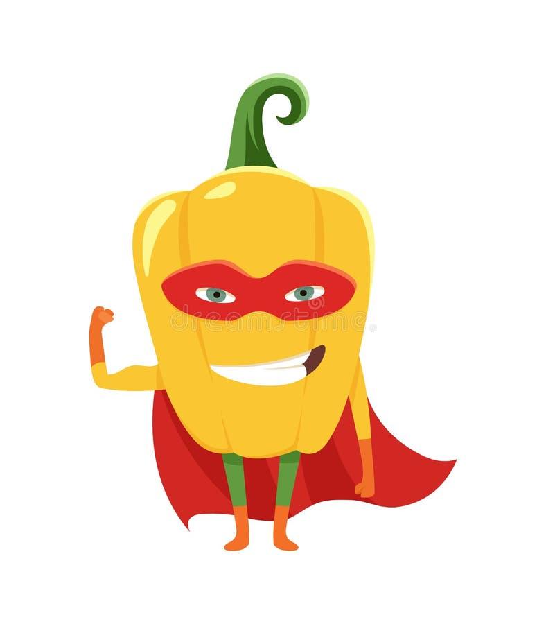 Ślicznej kreskówki uśmiechnięty pieprzowy bohater w masce i przylądku, kolorowa zhumanizowana jarzynowa charakteru wektoru ilustr ilustracji