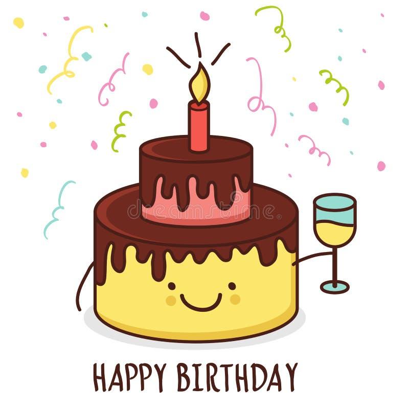 Ślicznej kreskówki uśmiechnięty tort z szkłem szampan Wektorowy Illust ilustracja wektor