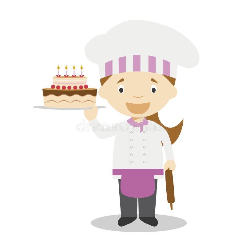 Ślicznej kreskówki wektorowa ilustracja ciasto szef kuchni Kobieta zawodów serie royalty ilustracja