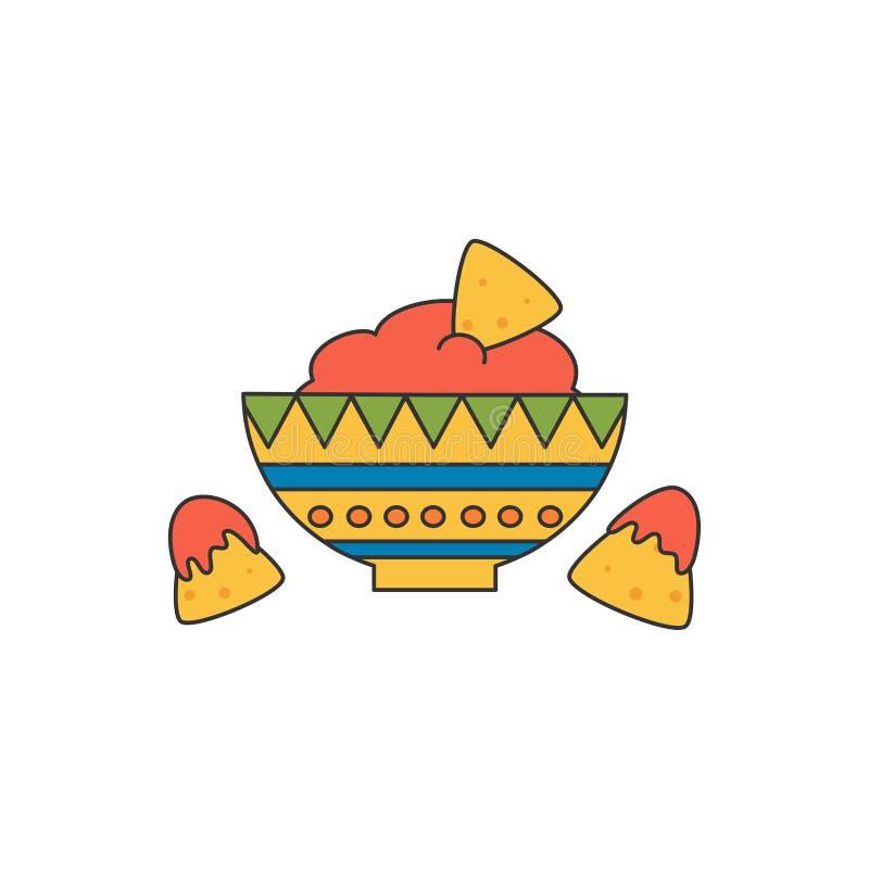 Ślicznej kreskówki wektorowa ilustracja z meksykańskim jedzeniem z nachos i salsa royalty ilustracja