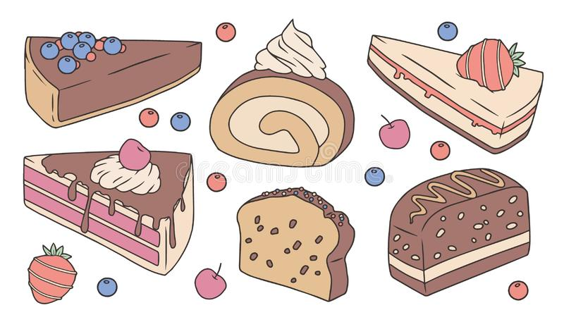 Ślicznej kreskówki wektorowy inkasowy ustawiający z różnymi wyśmienicie tortów plasterkami ilustracji